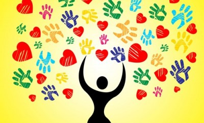 Heart Handprints Showing Valentine Day And Vibrant